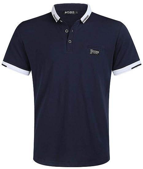 56623a1f9e9b74 Kuson Herren Shirt Polo Kurzarmshirt Polohemden Baumwolle Sommer T-Shirt  Men s Polo Shirt Navyblau S