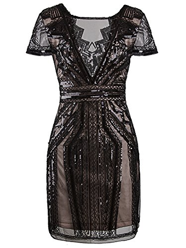 Vijiv 1920s Short Prom Dresses V Neck Inspired Sequins Cocktail Flapper Dress,Black Beige,XL (Fancy Dress For Womens Ideas)
