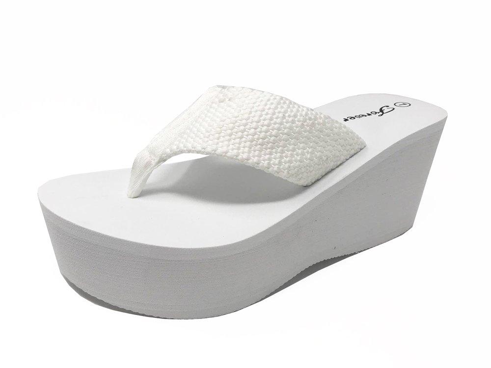 Blue Lemon Women's Black Thick Platform Wedge Summer Flip-Flop Sandals (7.5, White)