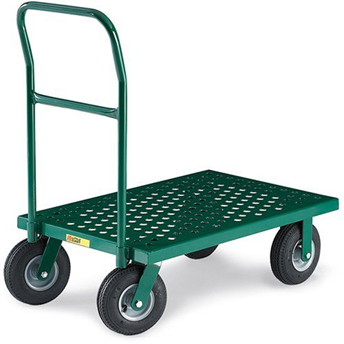 Little Giant T820P-9PN-G Steel Perforated Flush Deck Nursery Platform Truck with 9