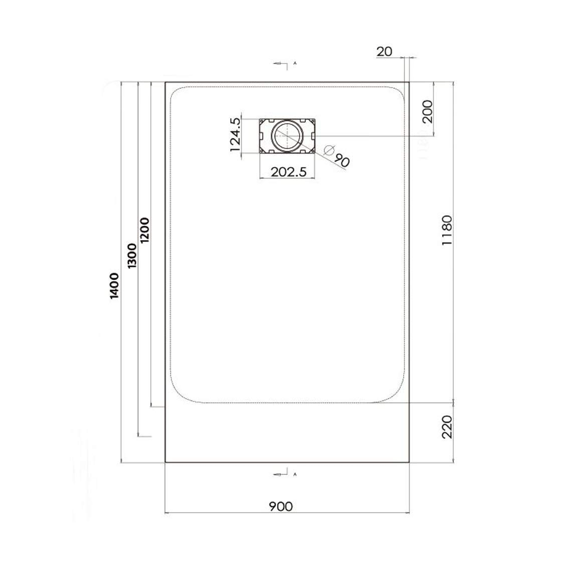 rectangulaire noir Receveur de douche 90 x 140 cm extra plat PIATTO en SoliCast/® surface ardois/ée