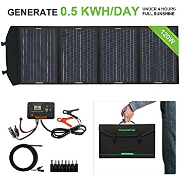 ECO-WORTHY 120W Foldable Solar Panel Kit with 20A LCD Charge Controller for Suaoki/Jackery/Goal Zero Yeti/Rockpals Portable Power Station Generator/Battery Bank/Laptop USB Devices