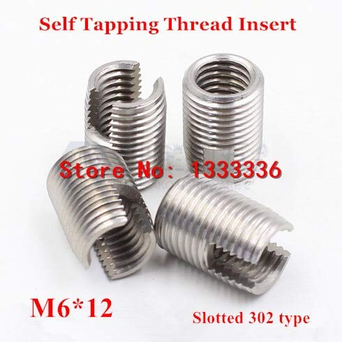 Ochoos 20pcs M61.012 Self Tapping Thread Insert 302 Slotted Type Stainless Steel Screw Bushing M6 Wire Thread Repair Insert L