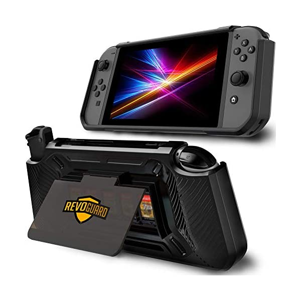 RevoGuard Slim Heavy Duty Switch Case [Stores 5 Games] Compact Multi Angle Holder Play Stand for Nintendo Switch 1