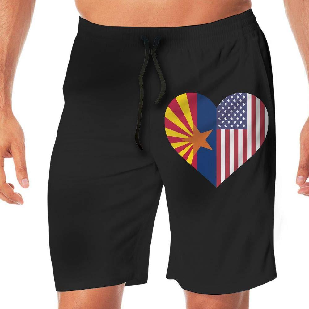 Men Bathing Suit Arizona Flag Half America Flag Half Heart Shaped Quick Dry Beach Boardshort Men