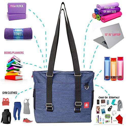 b5296f8cef LUCKAYA Yoga Mat Tote Bag Backpack  Multi Purpose Carryall Bag for Office
