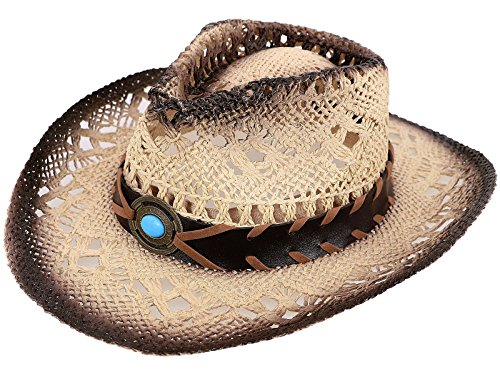 [TAUT Children Woven Straw Cowboy Hat for Summer, Coffee] (Asian Tourist Costume)