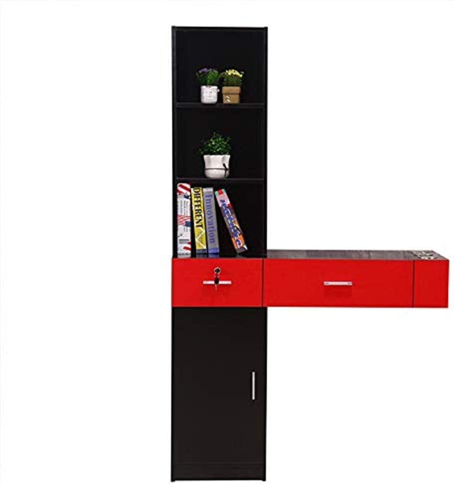 コンピューターデスク 壁掛けのヘアスタイリング駅のスパビューティーサロンヘアスタイリング局装置 寝室に適しています (Color : Black red, Size : One size)