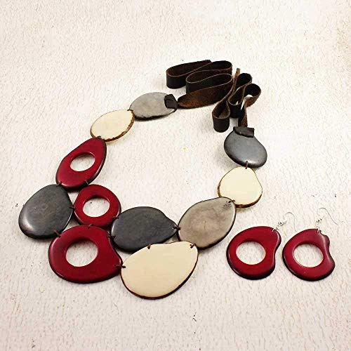 Wine Red and Gray Bib Necklace Set made of Tagua Nut, Eco Friendly Fair Trade Statement Jewelry ()