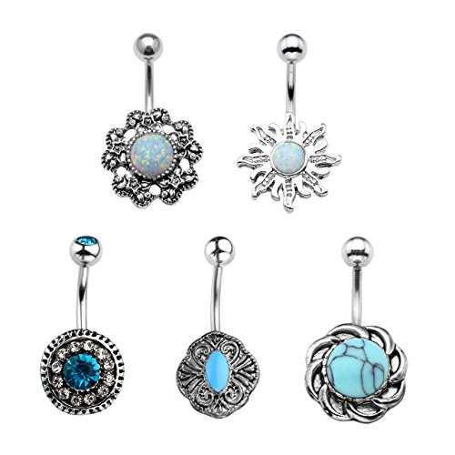 (Jovivi 5pcs 14G Stainless Steel Belly Button Rings Dangle Bar Jewelry Set, with Gift Box)