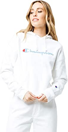 Champion Life Women/'s Reverse Weave PO Hoodie Chenille Script Logo White GF757