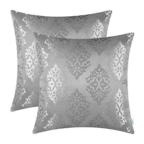 (CaliTime Pack of 2 Throw Pillow Covers Cases for Couch Sofa Home Decoration Vintage Damask Shining & Dull Contrast 18 X 18 Inches Silver)