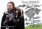 Game Of Thrones Stark Banner (11.7 X 8.3) Tv Print 8 Cast Kit Harrington, Sean Bean, Richard Madden, George RR Martin, Maisie Williams, Michelle Fairley, Isaac Hempstead Wright, Sophie Turner