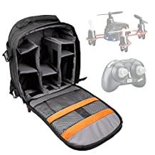 DURAGADGET High Quality Black Water-Resistant Rucksack / Backpack with Customizable Interior & Raincover for the Estes 4606 Proto X Nano Quadcopter