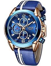LIGE Hommes Montres Militaire en élégant Mouvement à Quartz Cuir pour Bracelet Montre étanche Acier Inoxydable Or Bleu Calendrier Sport Chronographe