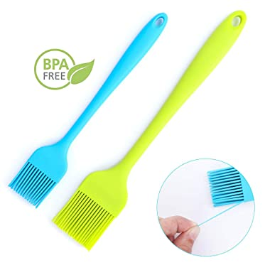 Lashary Pastry Brush, Heat Resistant Basting Brush - Food Grade Silicone Basting Brush BBQ Sauce Brushes for Oil Butter Spread -Dishwasher Safe Kitchen Brush, 2 Pcs of Large Green + Small Blue Sizes