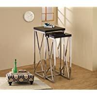 2 Piece Nesting Table Finish: Black, Size: Large