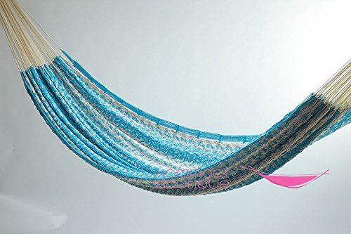 Cotton Thick Cord Mayan Hammock XXL Natural and Light Blue