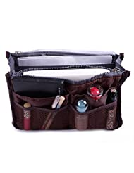 HDE Expandable 13 Pocket Handbag Insert Purse Organizer with Handles (Brown)