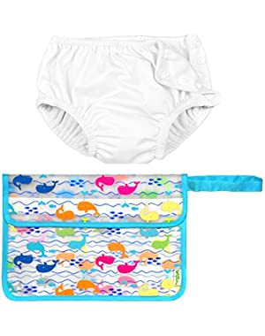 Iplay Unisex Baby Girl or Baby Boy Cloth Reusable Swim Diaper and Wet Bag