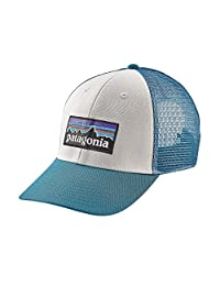 Patagonia P-6 LoPro Trucker Snapback Hat White/Filter Blue Mens One Size