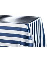 12 Pk Stripe Satin Rectangular Tablecloth 90 X132 Navy Blue White