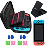 Jusoney Protective Case for Nintendo Switch Nintendo Switch Carrying Case Set - Collapsible Nintendo Switch Stand Holder / 2 Switch Screen Protector with 20 Game Cartridges