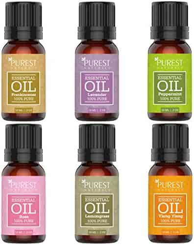 Purest Naturals Aromatherapy Top 6 Essential Oils Gift Set - 100% Pure Therapeutic Grade Oil - Rose Frankincense Lavender Ylang Ylang Lemongrass & Peppermint -Best For Oil Diffuser, Massage,