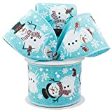 "Blue Snowmen Wired Christmas Ribbon - 2 1/2"" x 10"