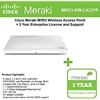 Cisco Meraki MR53 Dual-Band, 4x4:4, 802.11ac Wave 2 High Performance Wireless Access Point with 3 Years Enterprise License