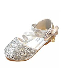 AMUR LEOPARD Kids Girls Mary Jane Shoes Diamonds Bowknot Dance Wedding Princess Shoes(Toddler/Little Kid)