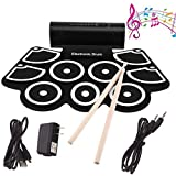 Portable Roll Up Drum Kit 9 Pads MIDI Electronic Roll Up Drum Kit Built-In Speakers&Foot Pedals&Drum Sticks For Kids,Beginner, Adult