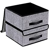 """Onlyeasy Foldable Storage Bins Cubes Boxes with Lid - Storage Box Cube Cubby Basket Closet Organizer Pack of Two with Leather Handles for Closet Bedroom, 13""""x13"""", Black, 8MXALB2P"""