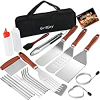 grilljoy 22PC Griddle Accessories Kit - Exclusive Griddle Tools Spatulas Set - Commercial Grade Flat Top Grill Kit -...