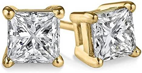 14k Yellow Gold Certified Princess-cut Diamond Stud Earrings (1/5cttw, I-J color, I1-I2 clarity)