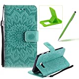 Wallet Case for Samsung Galaxy A5 2017 A520,Strap Flip Case for Samsung Galaxy A5 2017 A520,Herzzer Retro Elegant [Green Mandala Flower Pattern] Stand Function Magnetic Smart Leather Case with Soft Inner for Samsung Galaxy A5 2017 A520 + 1 x Free Green Cellphone Kickstand + 1 x Free Green Stylus Pen