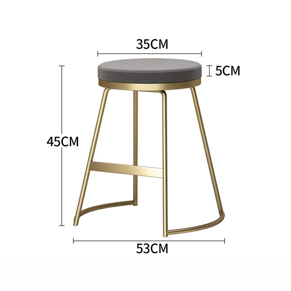 gold+Grey 75CM XUERUI Barstools Bar Stool Counter Chairs Wood Bar Stool Metal Frame Seat Cushion for Home Kitchen Bar Cafe Strong Stability (color   Black+White, Size   45CM)