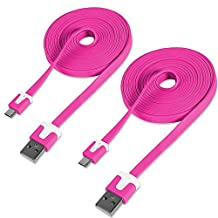 2-Pack of Data Cables for Motorola Devices, Fosmon [6ft / 1.8m] Vivid Series Micro-USB Flat Data Cable Charger for Motorola Moto E (2016, 2015) / Moto G4 / G4 Play / G4 Plus / Moto X Style / X Play / Moto G (3rd Edition, 2015) (Hot Pink)