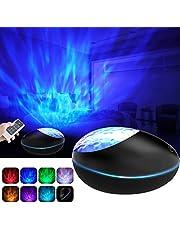 Lámpara Proyector Océano Ola Bluetooth, 360° Rotación Músic Lampara con Control Remoto y Temporizador, 8 Música, 8 Modos Color Romántica luz Noche Luz decorativa para Niños, Adultos, Navidad Regalo
