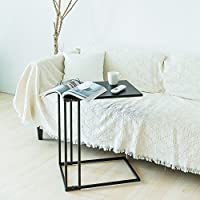 C-Hopetree Sofa Side Table Metal Snack Laptop C Shape End Table Coffee Table for Living Room, Black