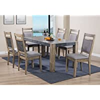 Roundhill Furniture D725-7PC-S725 Costabella Dining Collection 8 PC Set, Table with 6 Chairs and Server
