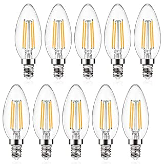 Defurhome E12 Candelabra LED Bulbs, 550LM, 60W Incandescent Equivalent, Warm White 2700K, Non-Dimmable, C35 Filament Glass Bulb, Decorative Candle Light Bulbs - Pack of 10
