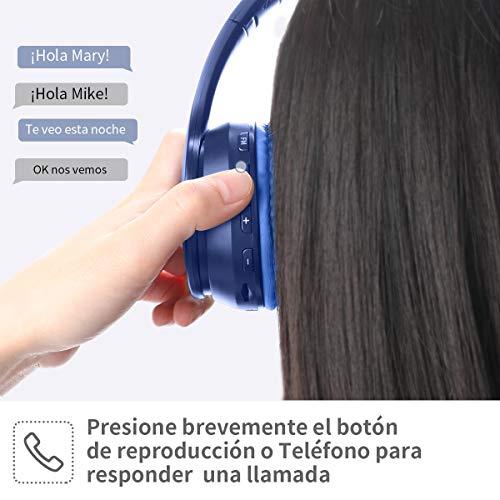 Cascos Bluetooth Diadema, Estéreo Música Auriculares Cerrados Inalámbricos Plegables HiFi con Micrófono Incorporado y Cable, Soporte Micro SD/TF/FM, para Móviles/TV/PC/MP3 (Azul Marino)