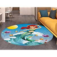 Mermaid Round Rugs for Bedroom Illustration of Cute Little Mermaid on top of a Big Wave in the Surf with Fish Kids Circle Rugs for Living Room Multicolor
