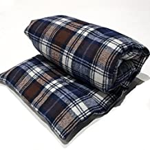 """Large natural flax heating pad, Microwaveable, The """"Flax Sak"""" Hot/cold pack with removable/washable cover (Blue, Brown & White Plaid)"""