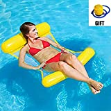 Anermy Water Pool Float Hammock, Swimming Pool Floating Hammock Lounge, Inflatable Water Pillow, with Mini Floor Pump for Adults and Kids (Yellow)
