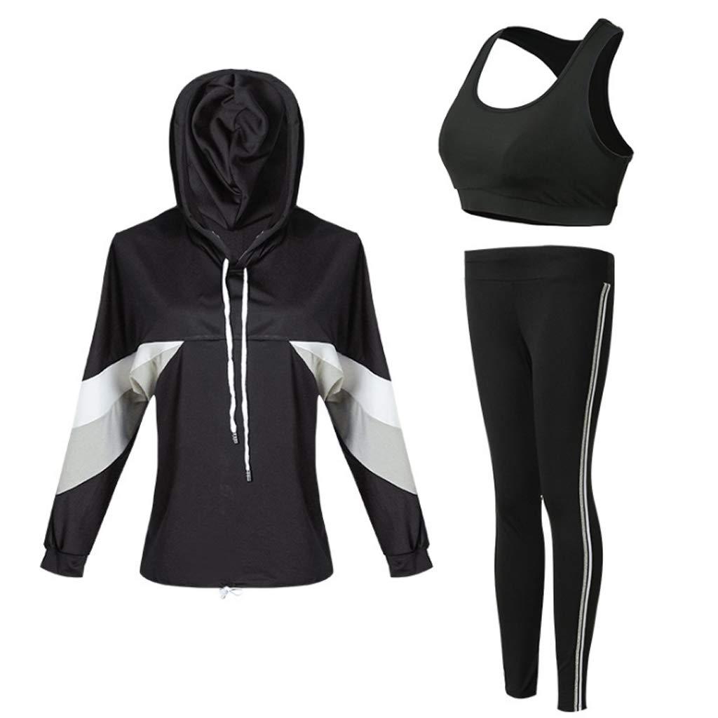 Lilongjiao Damen Fitness Wear Set Langarm Hosen BH dreiteilige Yoga Wear Sportswear Strumpfhosen Yoga Wear