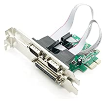 2 PORTS RS-232 Serial Port COM & DB25 Printer Parallel Port LPT to PCI-E PCI Express Card Adapter Converter WCH382 Chip DB9 DB25