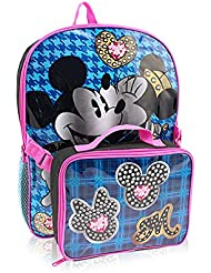 Disney Kids Mickey and Minnie 16-Inch Backpack with Lunch Kit, Multi