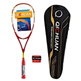 QICHUAN Full Graphite Squash Racquet 125g with Overgrip Bag